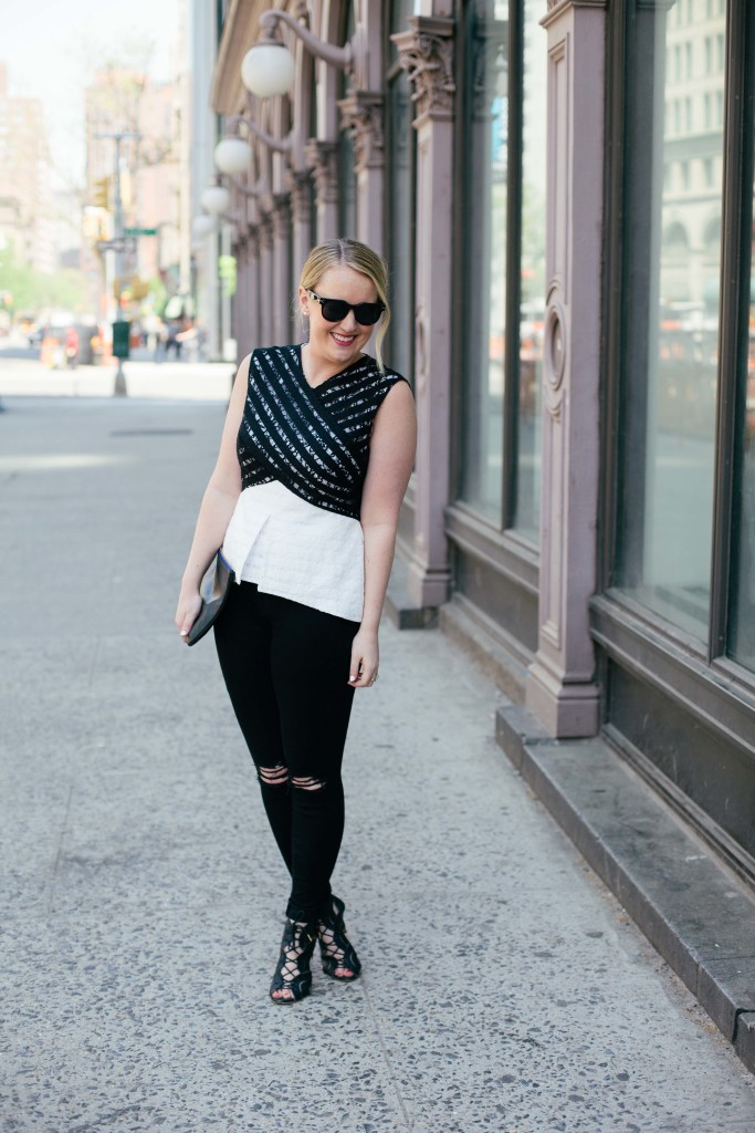 wit & whimsy I black and white lace top