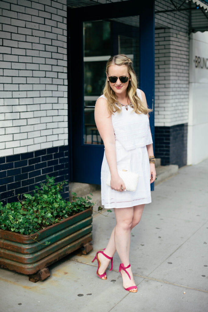 wit & whimsy I little white dress and ted baker heels