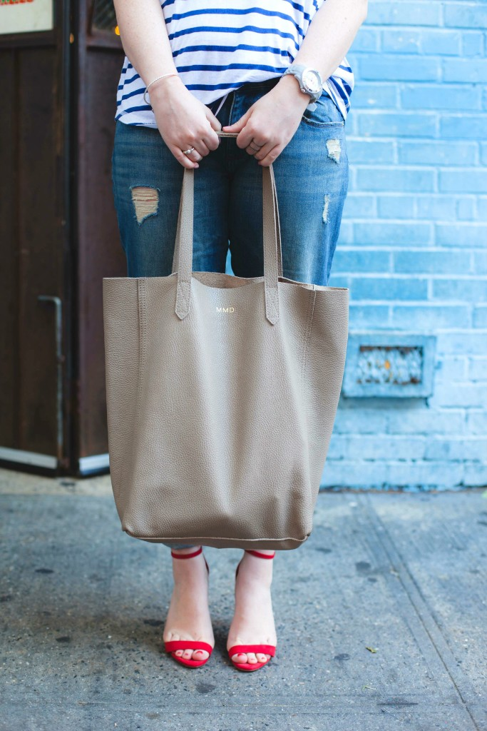cuyana monogrammed tote I wit & whimsy