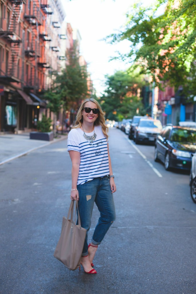wit & whimsy I striped tee and boyfriend jeans
