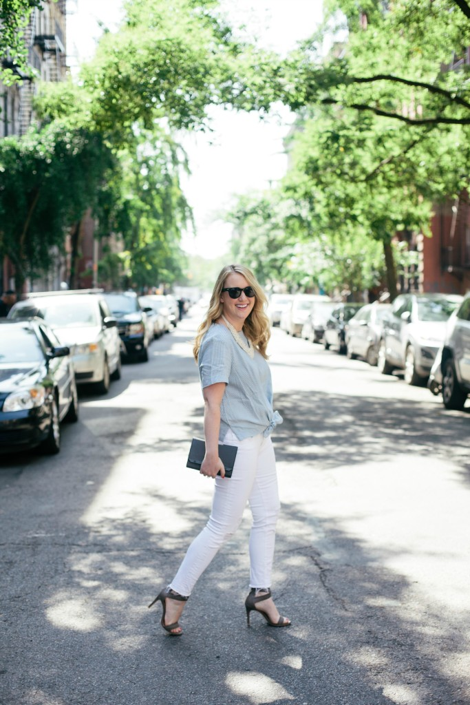 wit & whimsy I stripes and white jeans