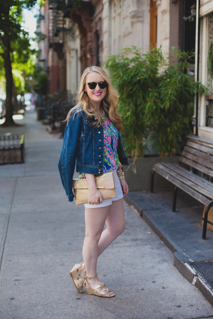 denim jacket I lilly top I eyelet shorts I wit & whimsy