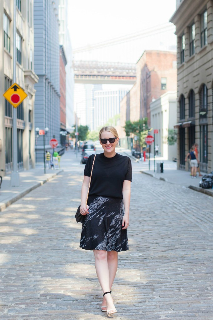 everlane sweater I bcbg skirt I wit & whimsy in DUMBO