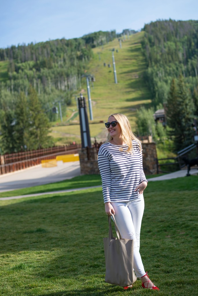 Mountainside I Striped Tee I White Jeans I wit & whimsy