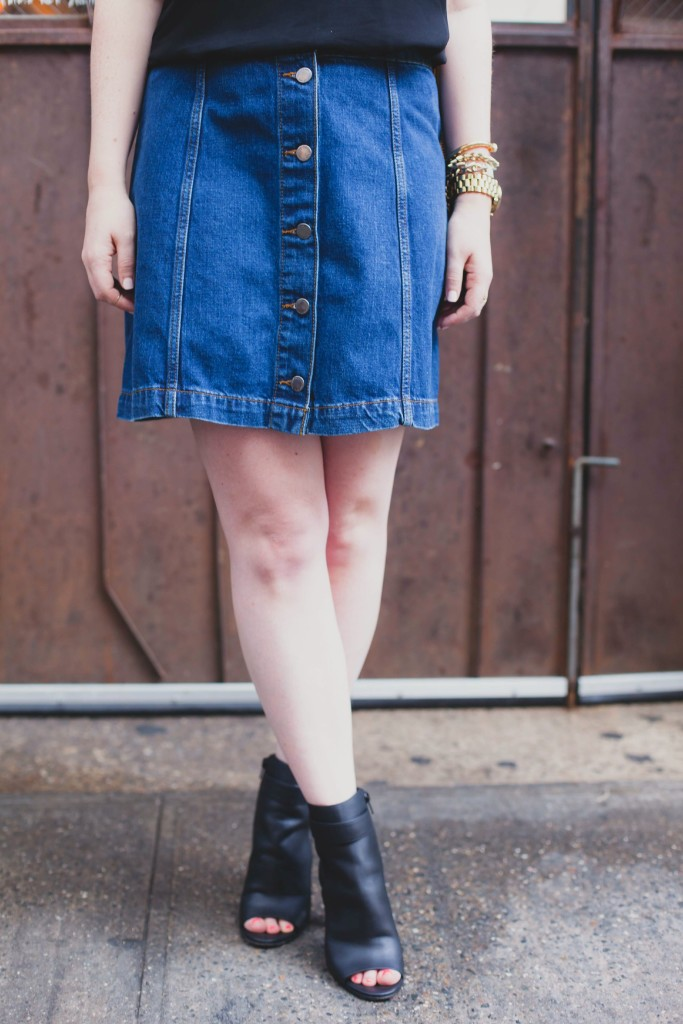denim botton down skirt I wit & whimsy