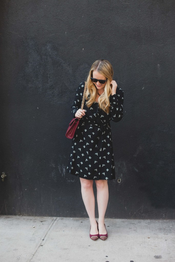 wrap dress and burgundy accessories I wit & whimsy