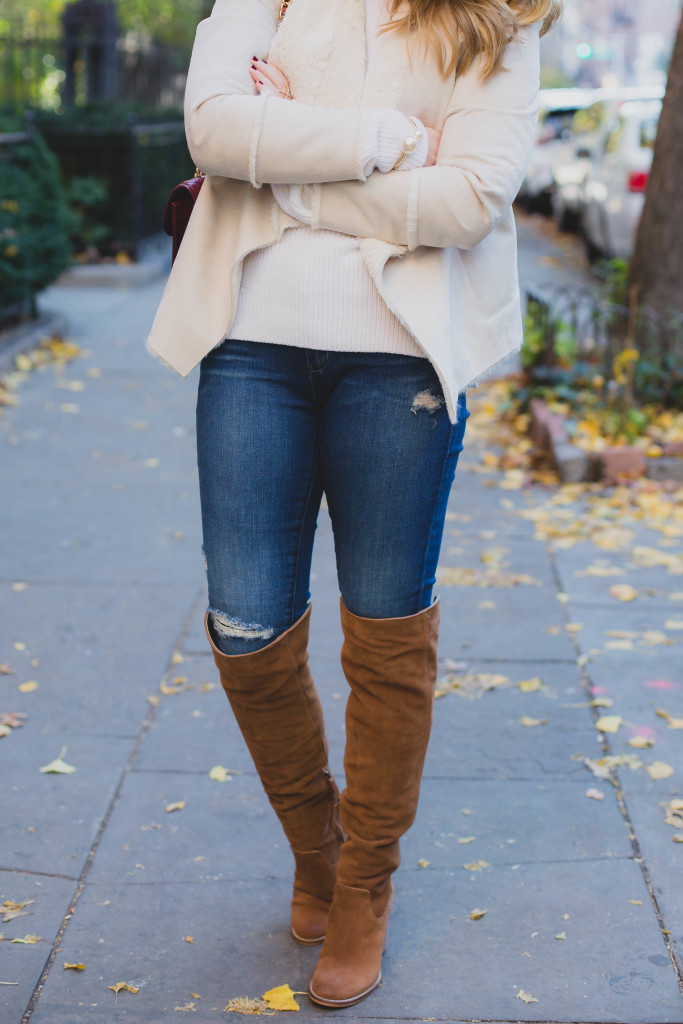 Distressed Denim & over the knee boots I wit & whimsy
