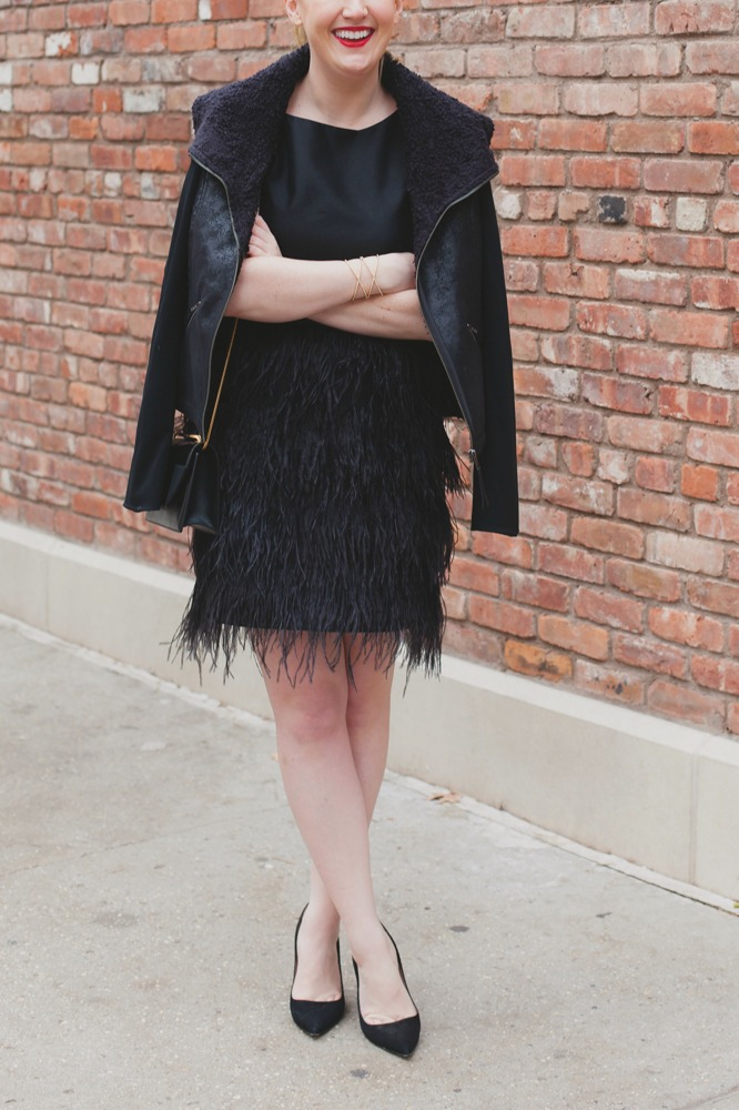 Shearling Coat + Feather Dress I wit & whimsy