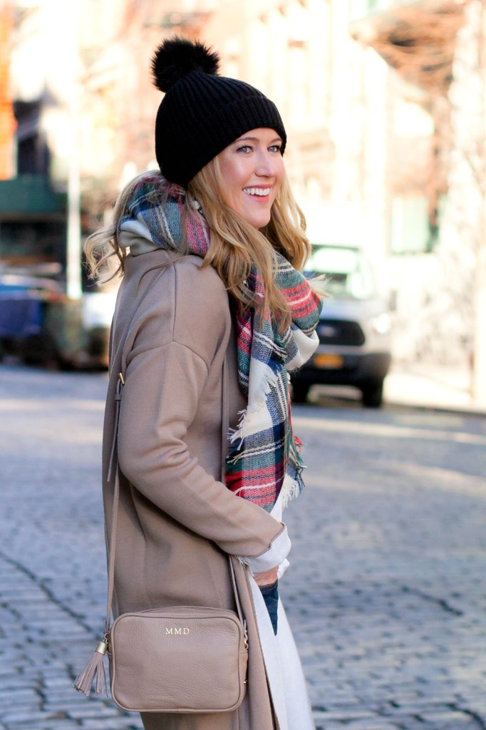 PomPom Hat + Plaid Scarf