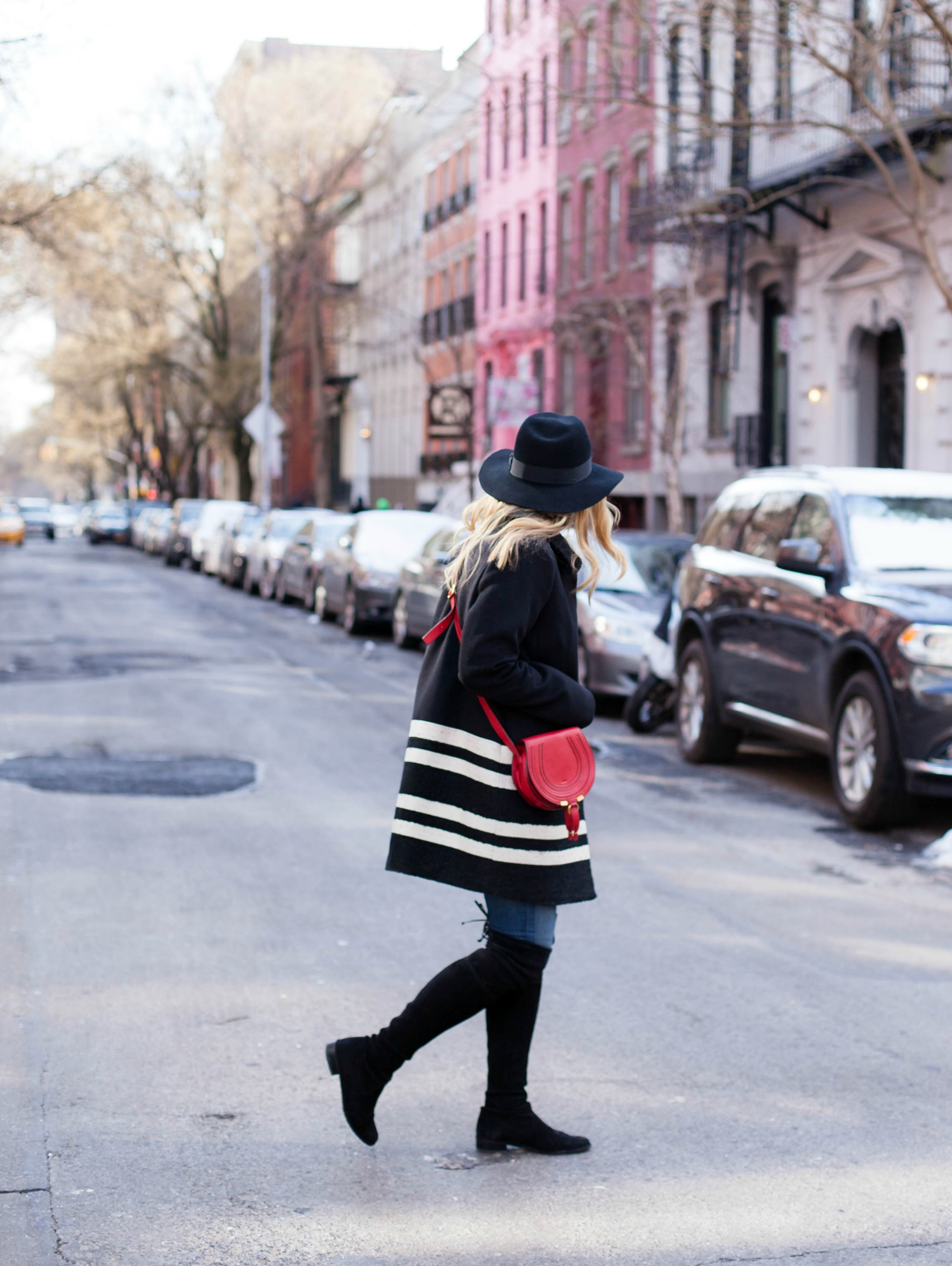 Striped Coat I Red Bag