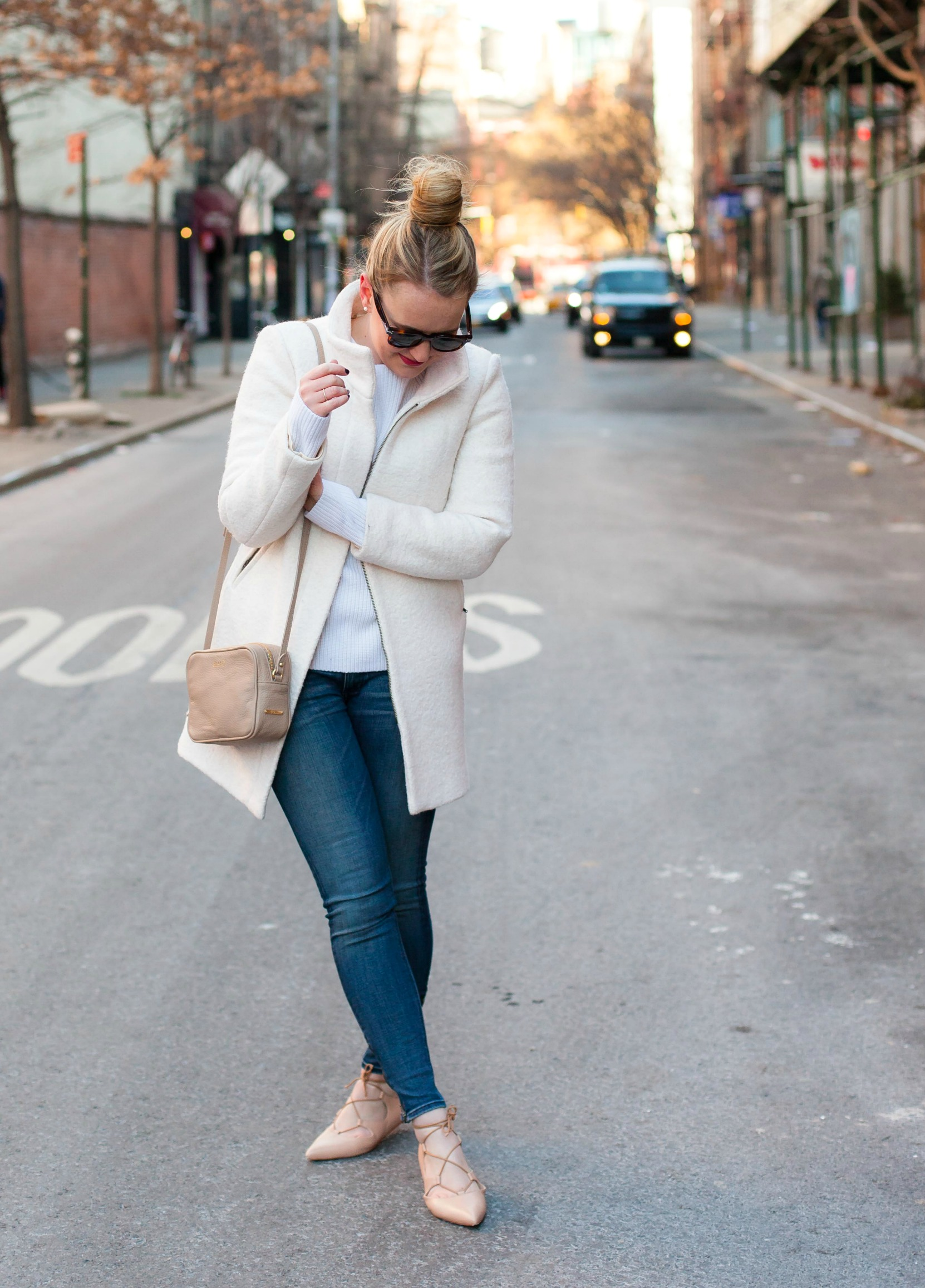 White Coat + Laceup Flats