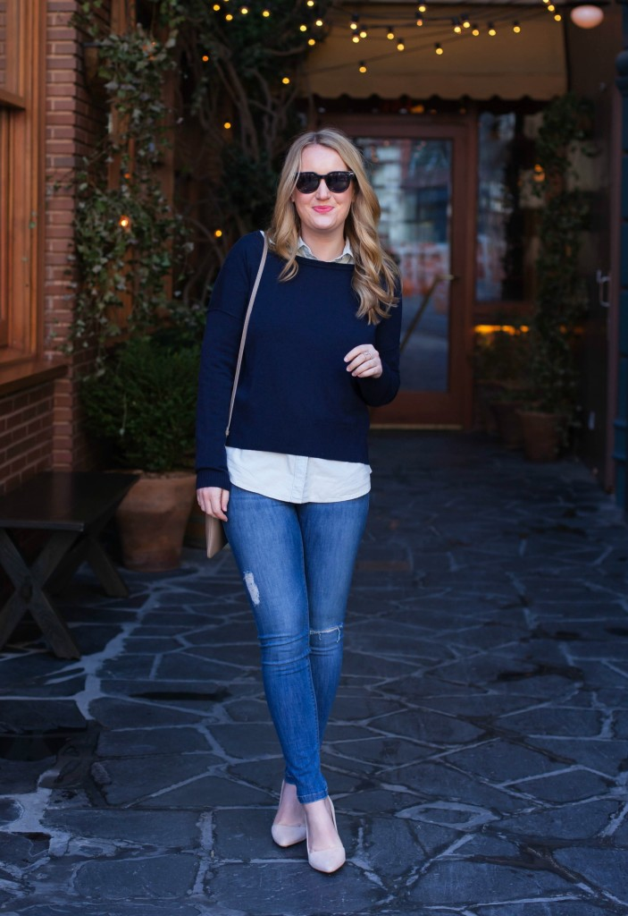 Navy Blue Sweater + Chambray