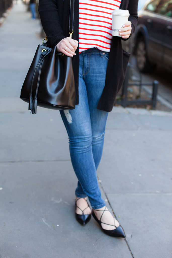 Stripes + Distressed Denim + Lace Up Flats