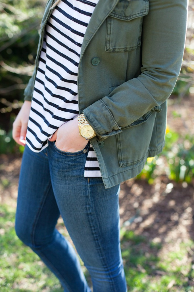 Stripes + Military Jacket