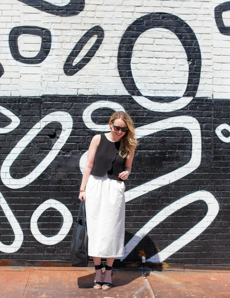 Club Monaco Scalloped Top + Midi Skirt