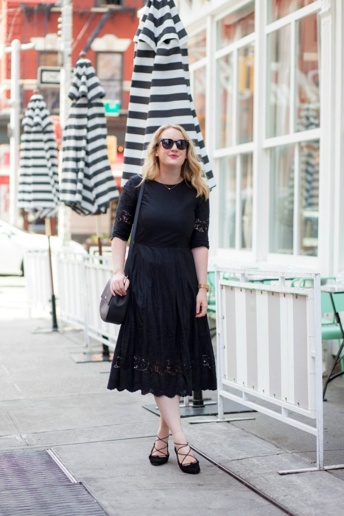 Black Midi Dress I Lace Up Flats