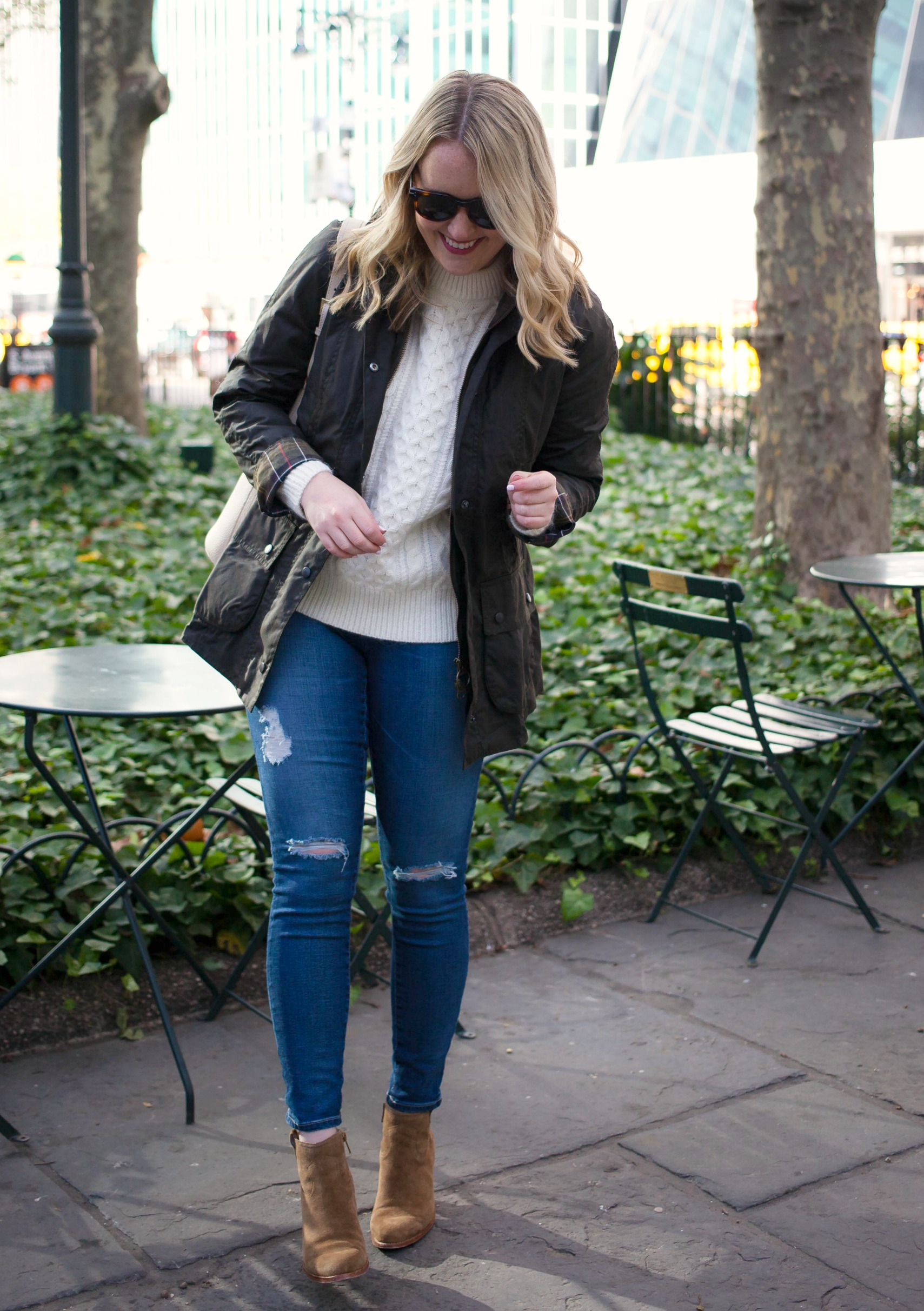 Classic Barbour Jacket and Cable Knit Sweater on Meghan Donovan of wit & whimsy