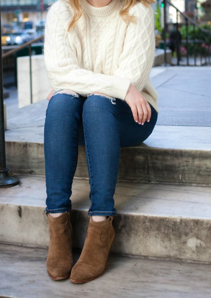 Cable Knit Sweater and Ankle Booties on Meghan Donovan of wit & whimsy