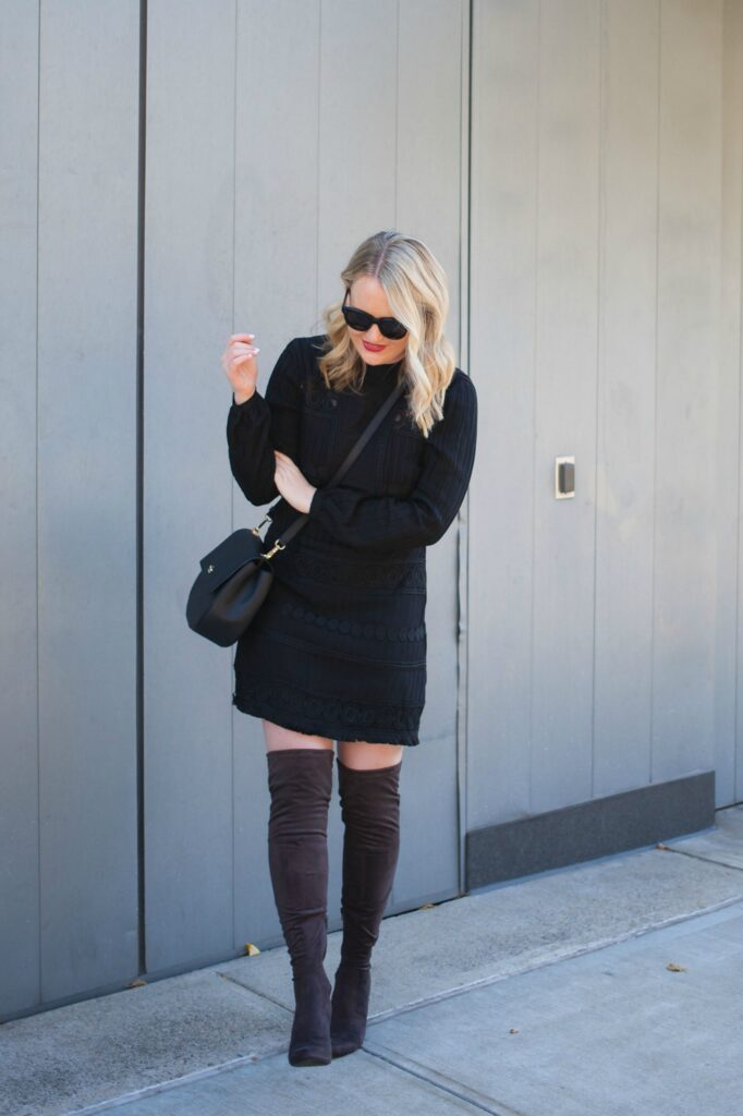 TopShop Dress I Gray Over the Knee Boots