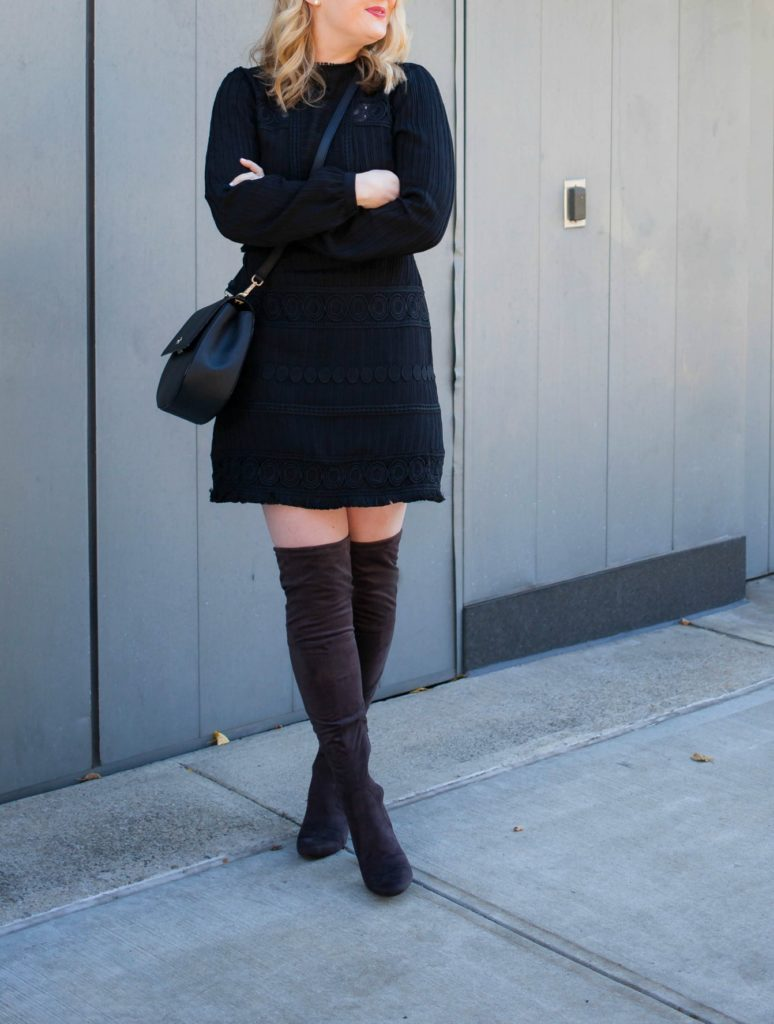 Crochet Dress I Gray Over the Knee Boots