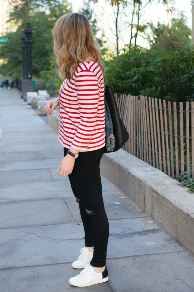 Striped tee and Sneakers