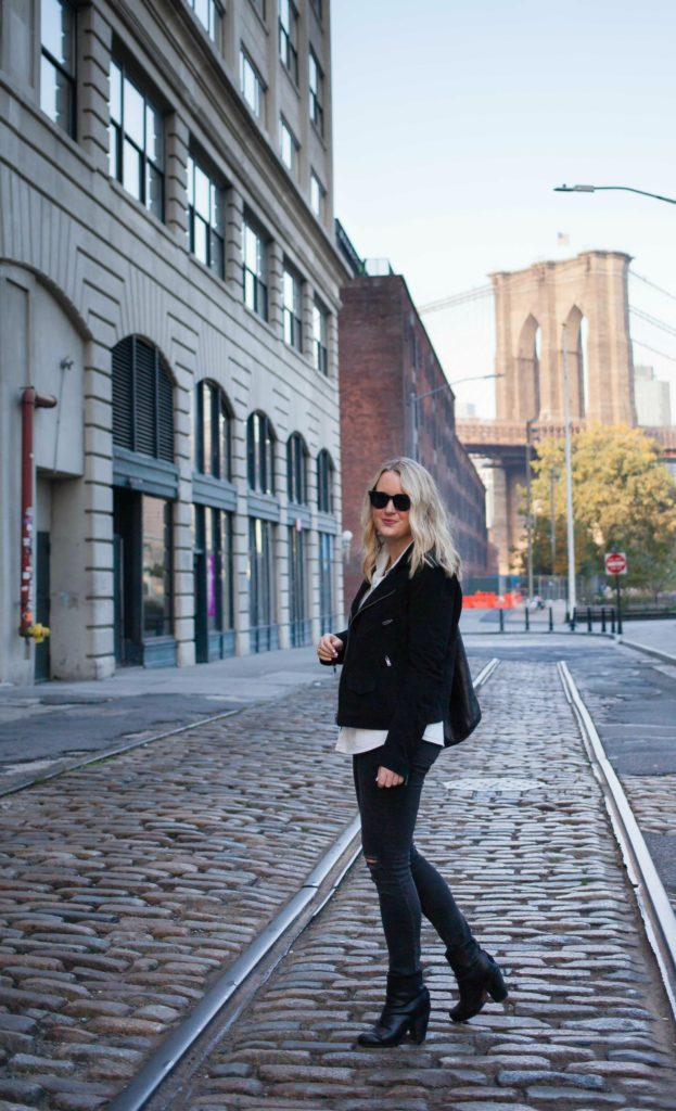 Suede Moto Jacket and Distressed Denim on wit & whimsy blogger Meghan Donovan
