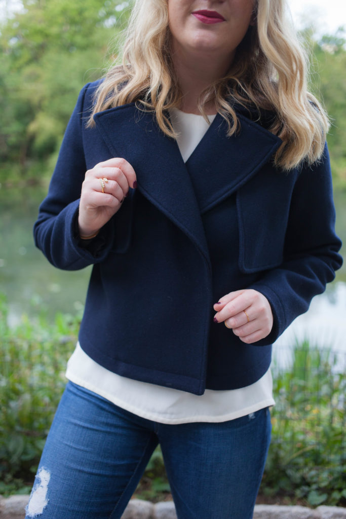 Navy Cropped Wool Coat