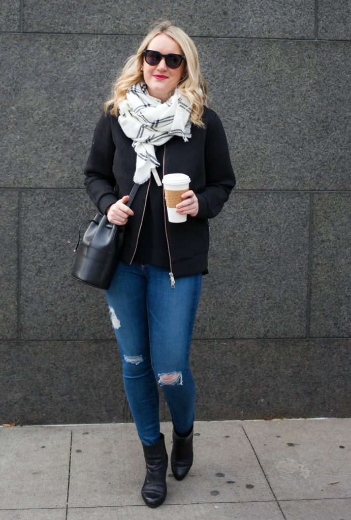 Ann Taylor Plaid Scarf and Everlane Bomber Jacket