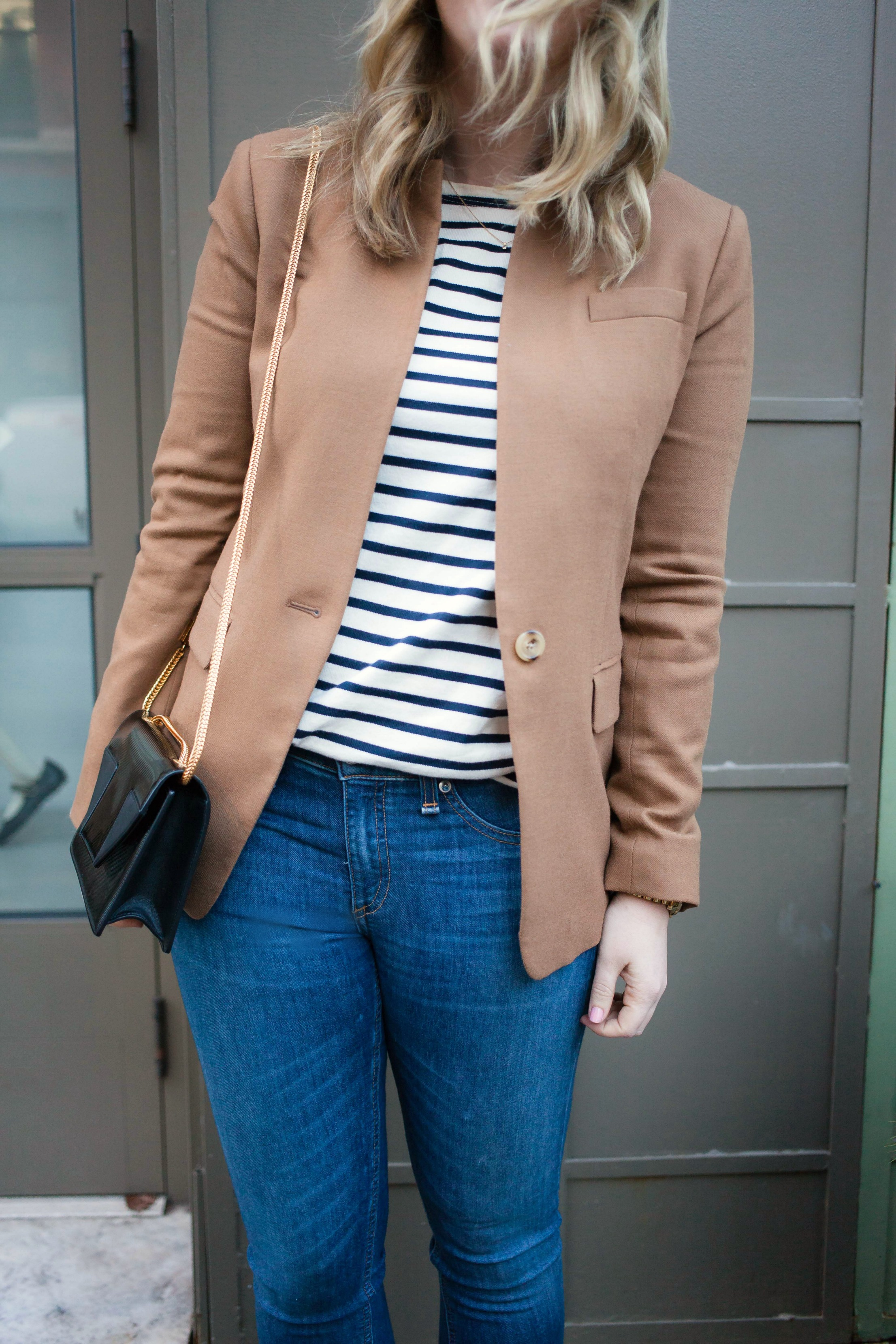 Stripes + Camel Blazer