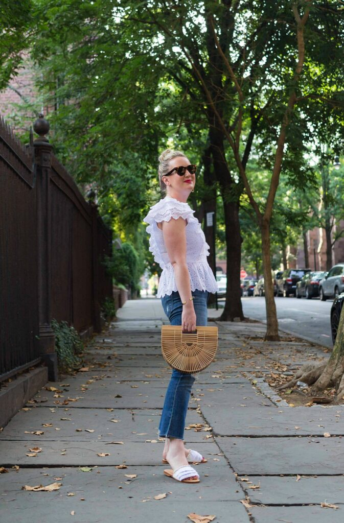 Meghan Donovan of wit & whimsy wears Eyelet and Denim