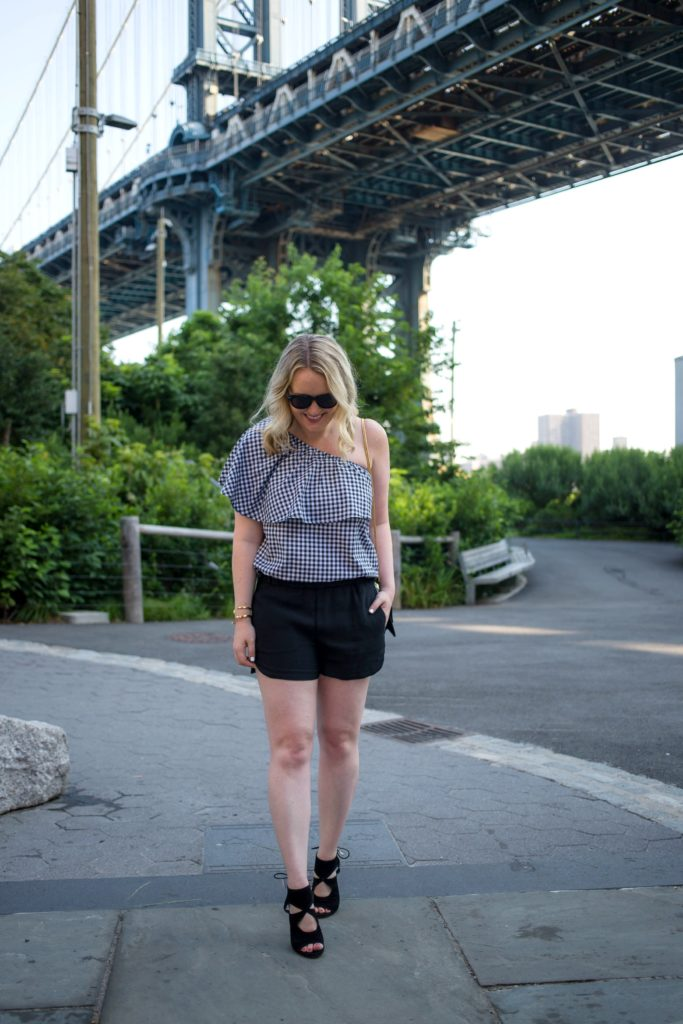 Gingham One Shoulder shirt on Meghan Donovan of wit & whimsy