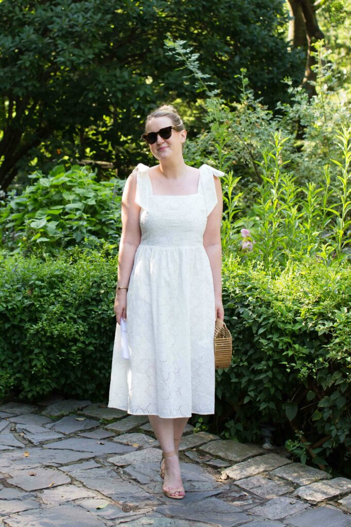 Meghan Donovan of wit & whimsy styles an eyelet dress with bow shoulders