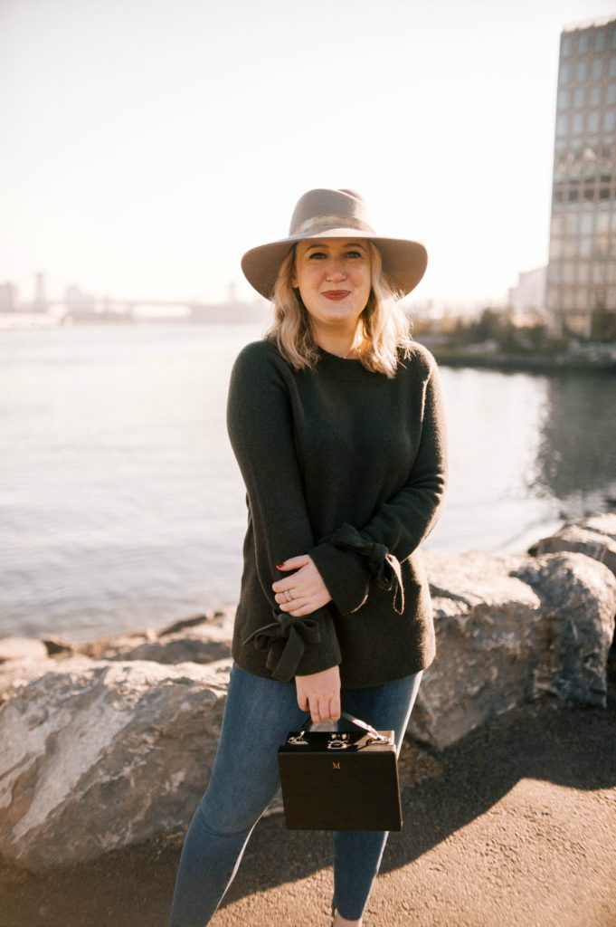 Meghan Donovan of wit & whimsy wears Ann Taylor Sweater; Rag & Bone Hat