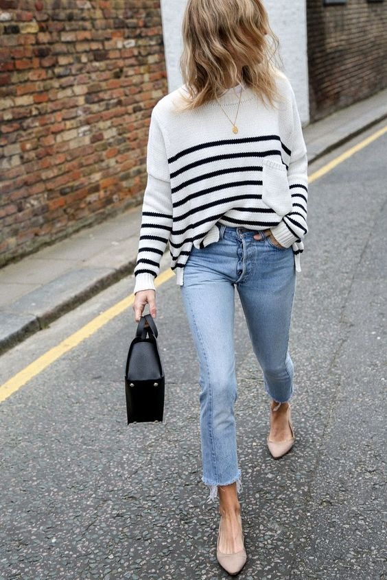 Striped Sweater + Jeans