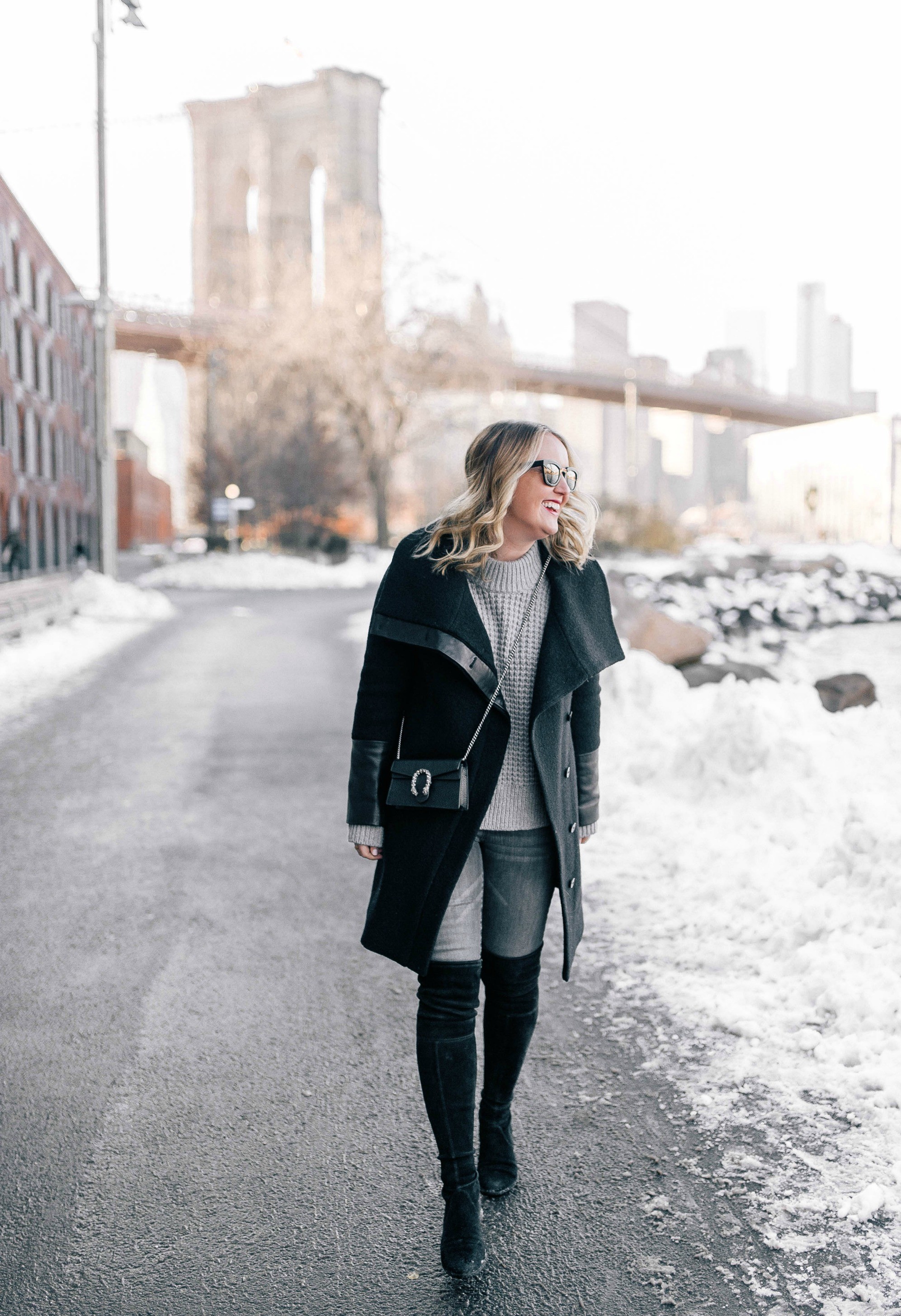 Leather trimmed coat on Meghan Donovan of wit & whimsy