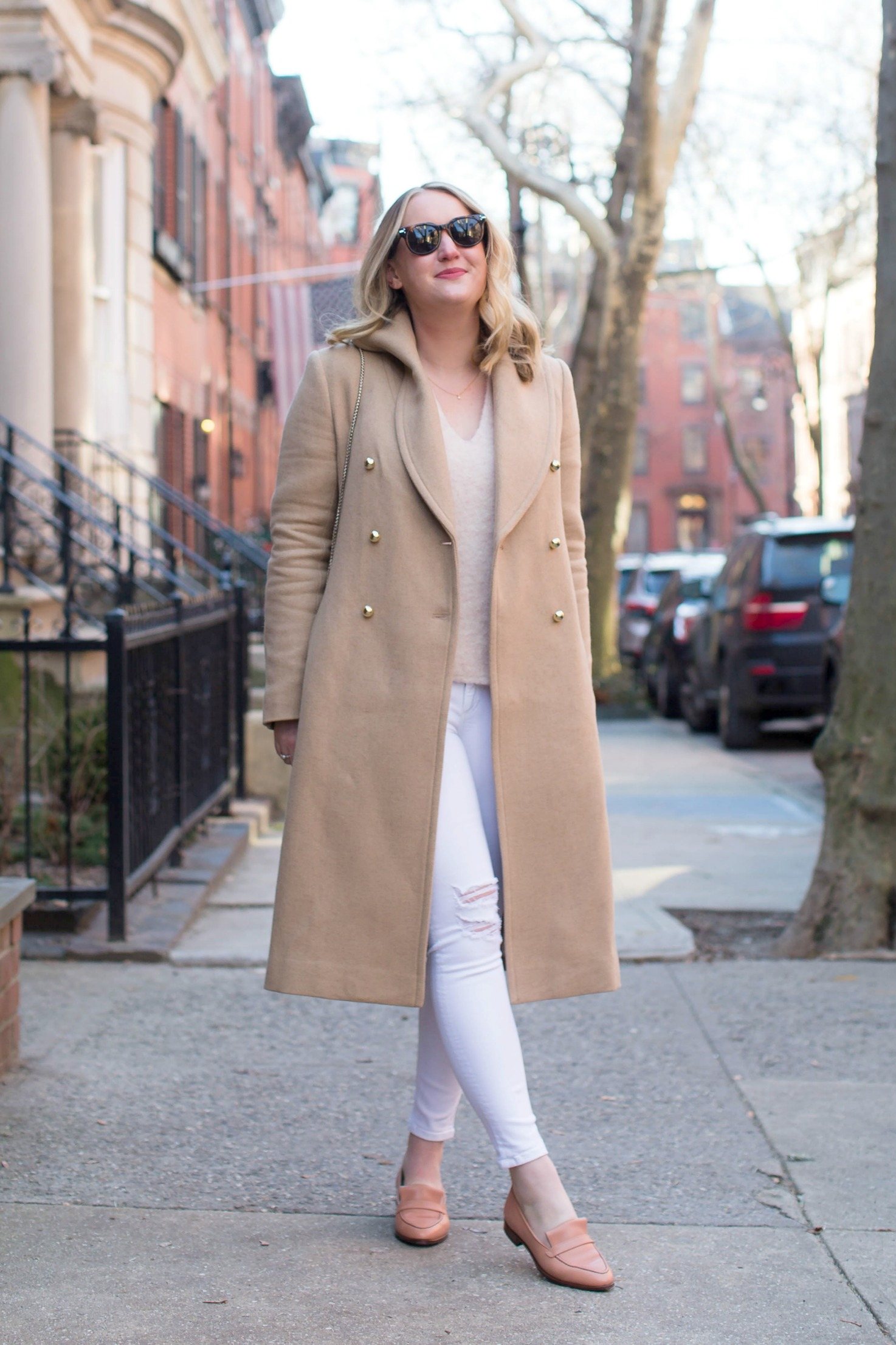 Camel Coat styled with white jeans I Meghan Donovan of wit & whimsy