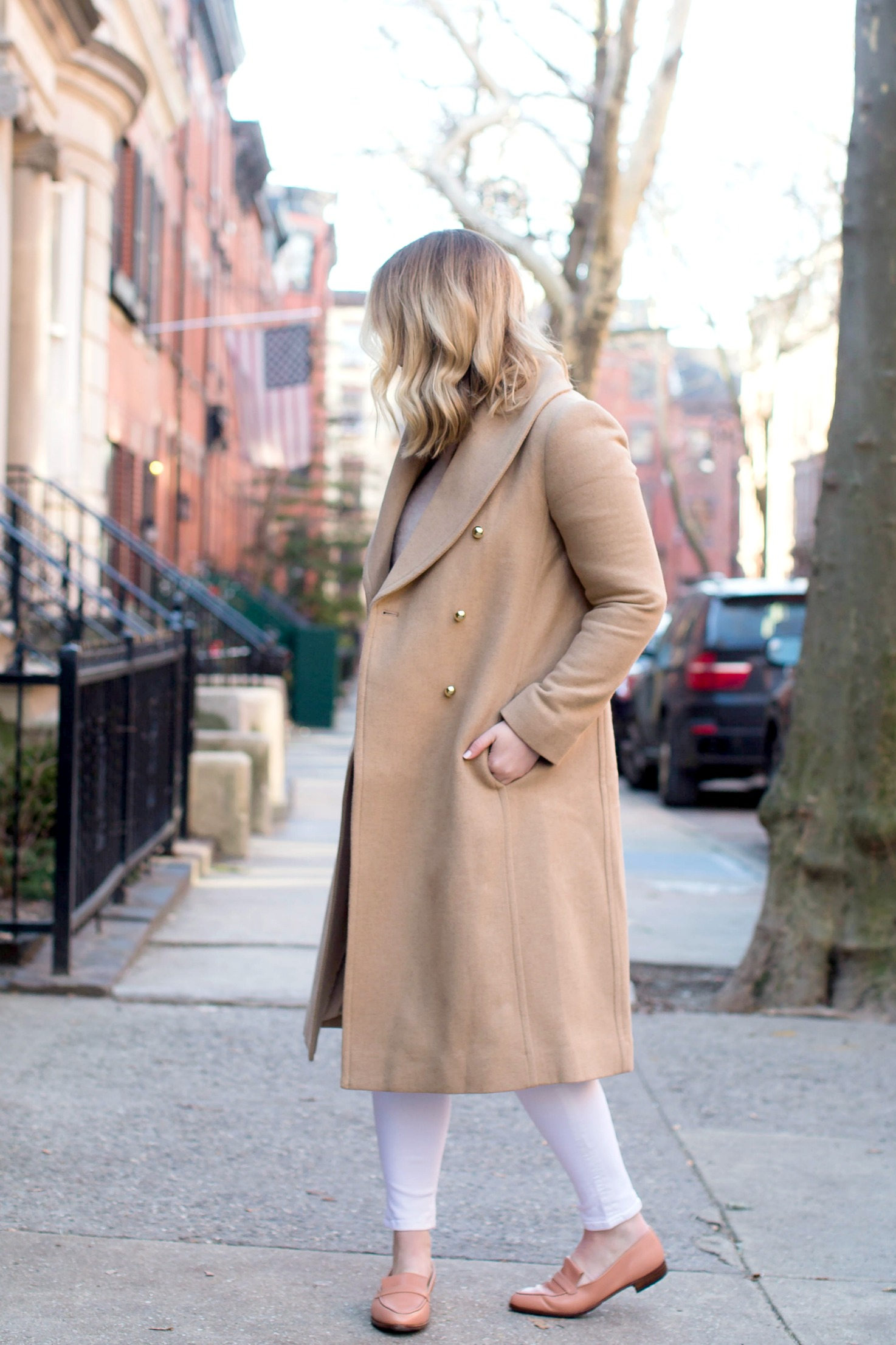 Styling a camel coat with white jeans I seen on Meghan Donovan of wit & whimsy