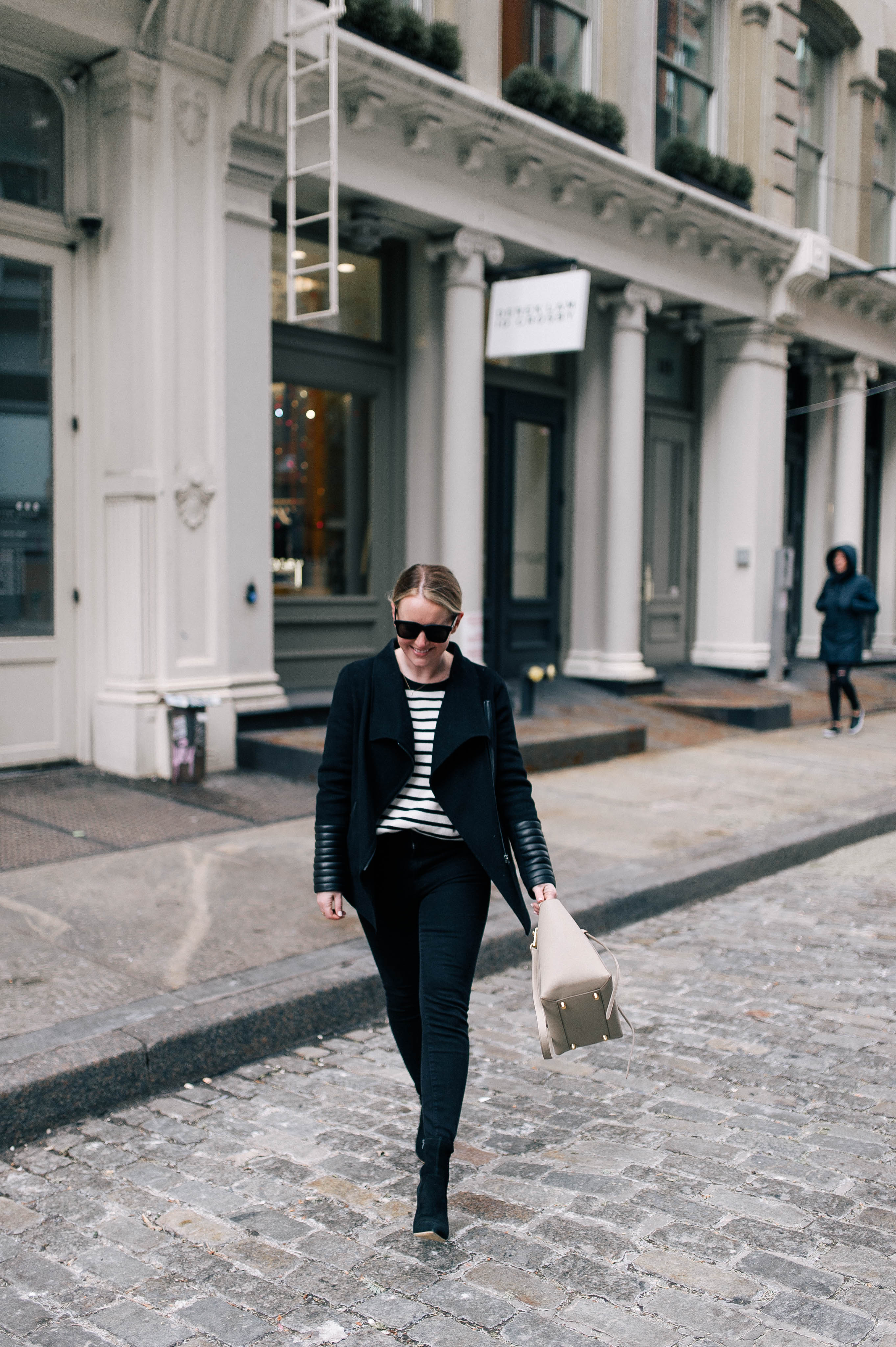 Meghan Donovan of wit & whimsy in a Mackage Coat and Loeffler Randall Boots