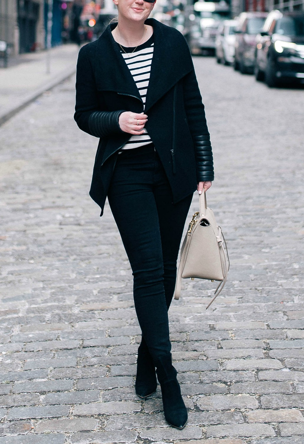 All Black Outfit with a Striped Tee