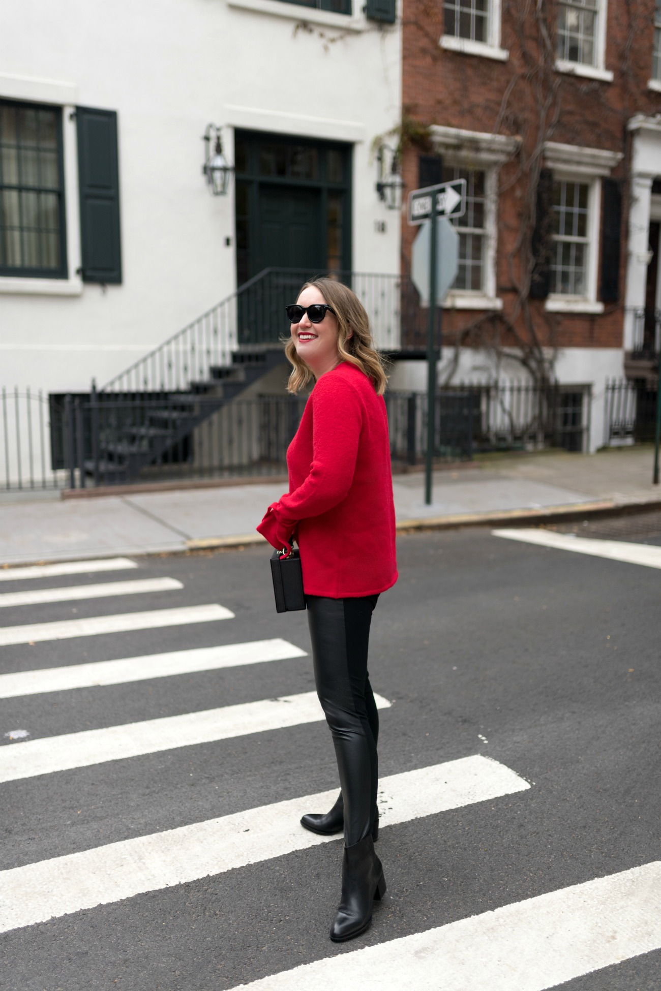 Red Holiday Sweater I Leather Leggings