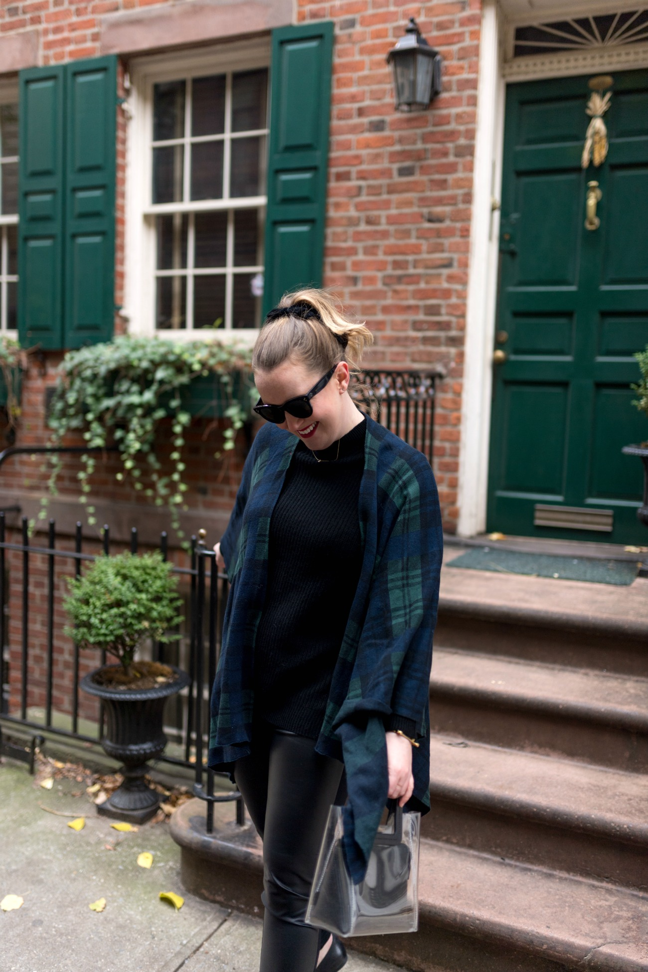 Plaid Wrap and Faux Leather Leggings I wit & whimsy