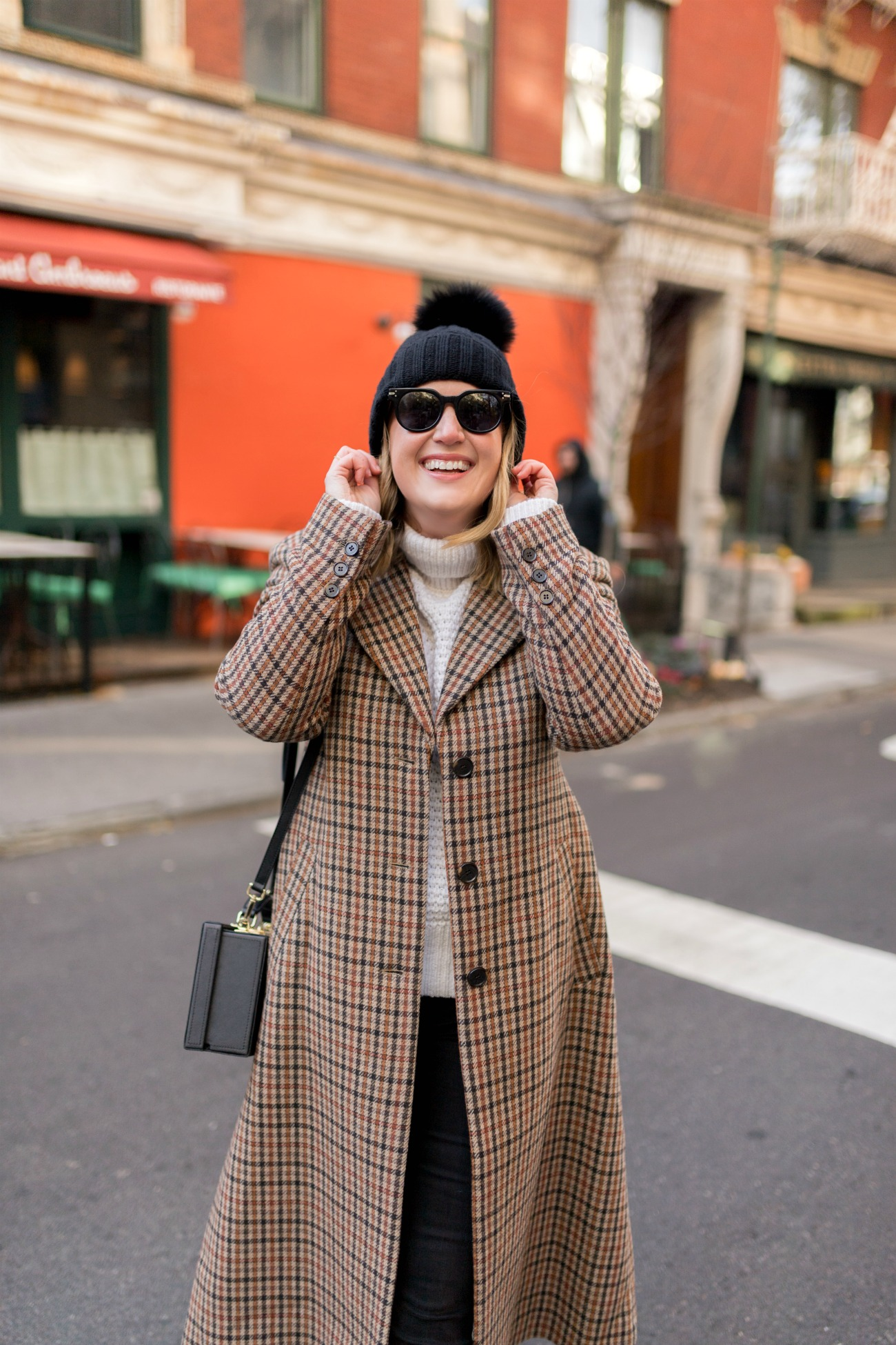 Plaid Coat I pom pom hat