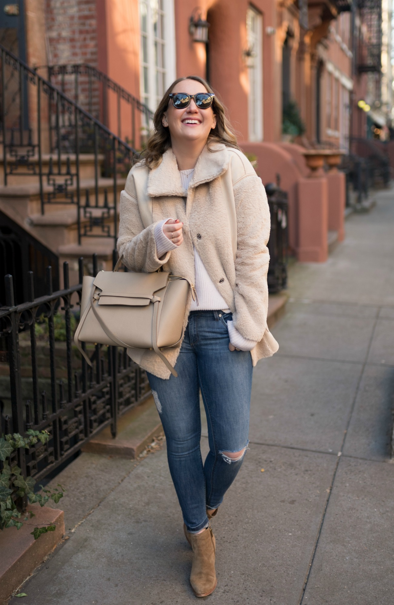 Faux Shearling Jacket + Jeans I wit & whimsy