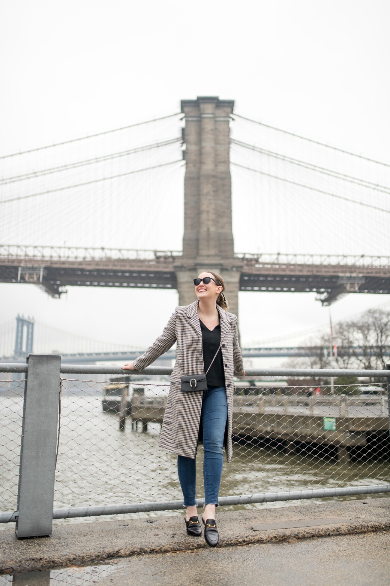Casual outfit with plaid jacket in Brooklyn I wit & whimsy
