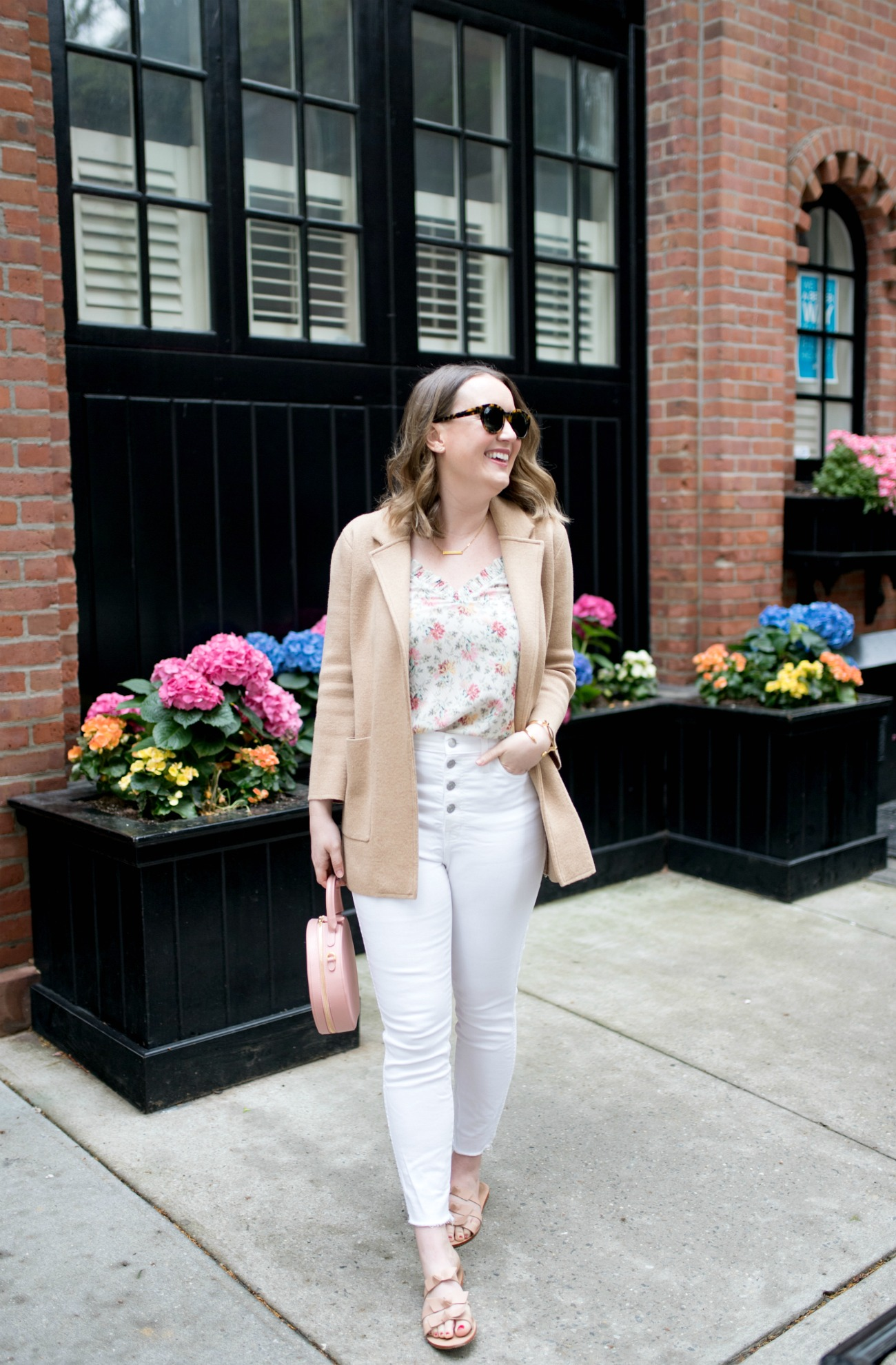 Floral Tank + White denim I wit & whimsy
