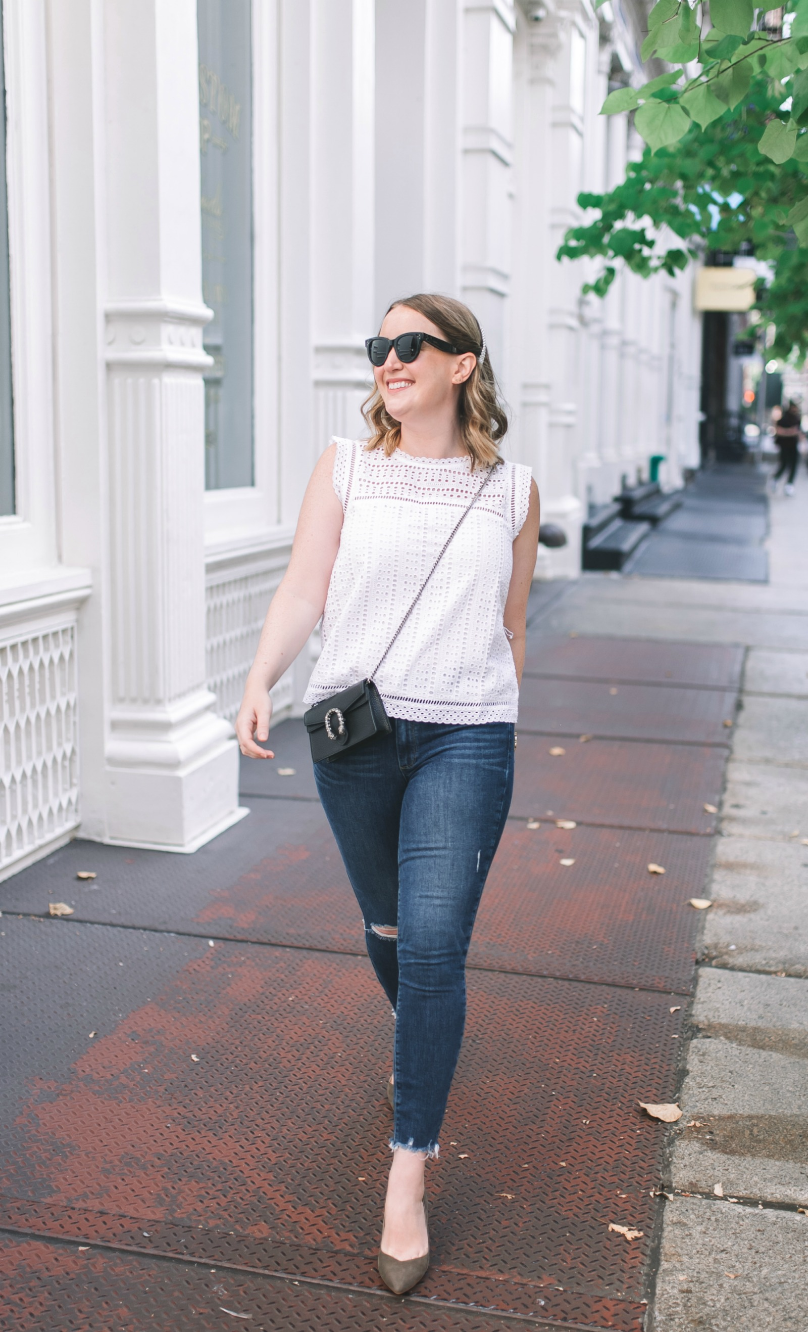 Eyelet Top with Jeans I wit & whimsy