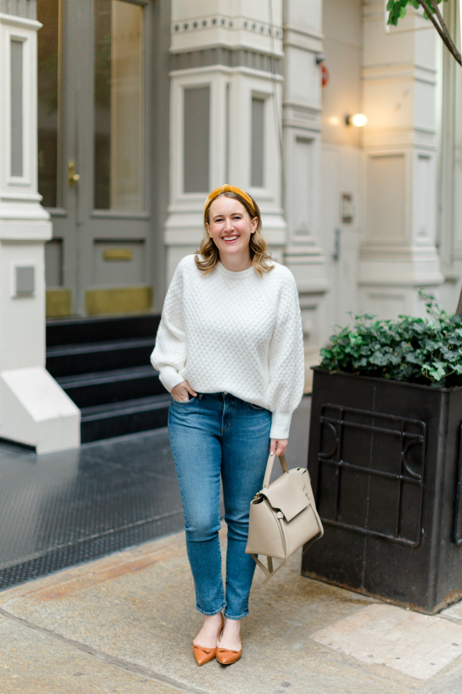 White Sweater + Jeans I wit & whimsy