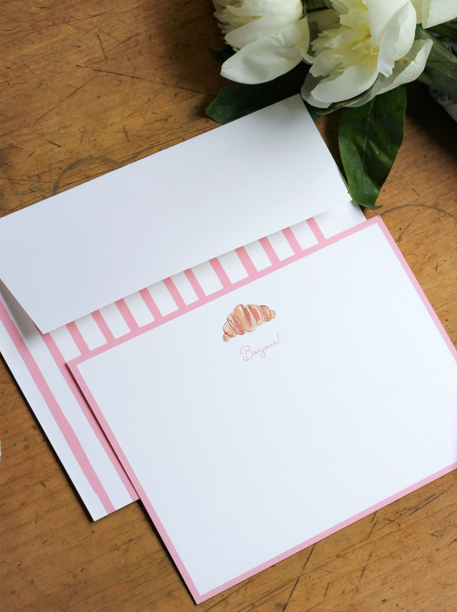 wit & whimsy Croissant Custom Stationery